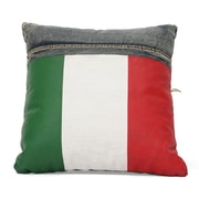 Zuo® Blue Denim Cowboy Cushion With Italy Flag