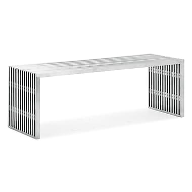 Zuo® Metal Novel Double Bench, Stainless Steel