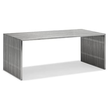 Zuo® Novel 29in. x 73in. x 33 1/2in. Tempered Glass Dining Table, Stainless Steel