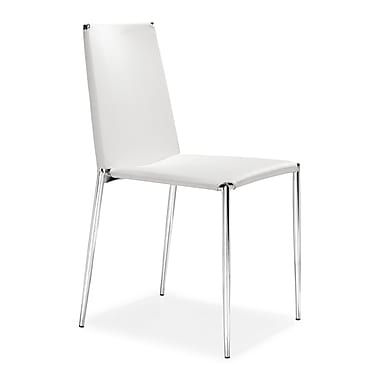 Zuo Alex Leatherette Dining Chairs, White