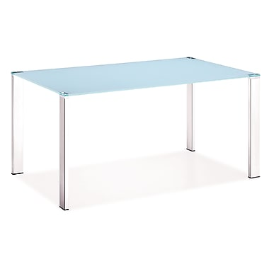 Zuo® 29 1/2in. x 59in. x 35 1/2in. Tempered Glass Slim Dining Table, White
