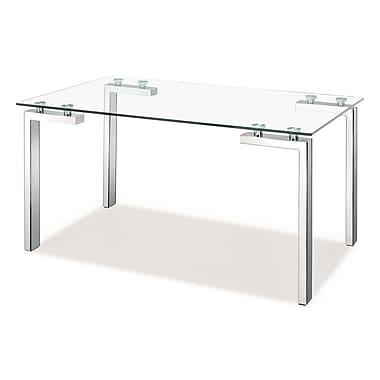 Zuo® Roca 30in. x 59in. x 35 1/2in. Tempered Glass Dining Table, Stainless Steel