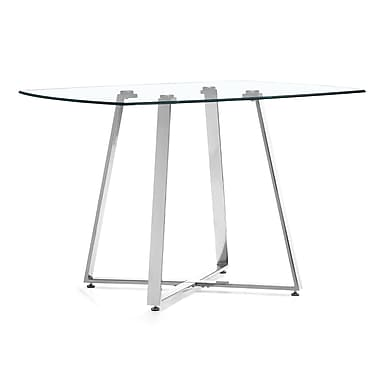 Zuo® Lemon Drop 42in. x 42in. Tempered Glass Dining Table, Clear