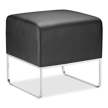 Zuo® Plush Leatherette Ottoman, Black