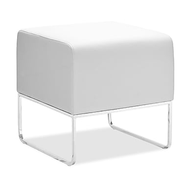 Zuo® Plush Leatherette Ottoman, White