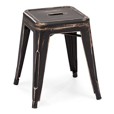 Zuo® Marius Steel Stool, Antique Black Gold