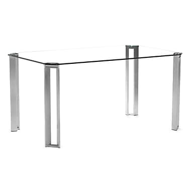 Zuo® Plume 29 1/2in. x 59in. x 35 1/2in. Tempered Glass Dining Table, Clear