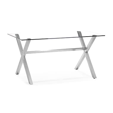 Zuo® Graphite 29 1/2in. x 59in. x 35 1/2in. Tempered Glass Dining Table, Clear