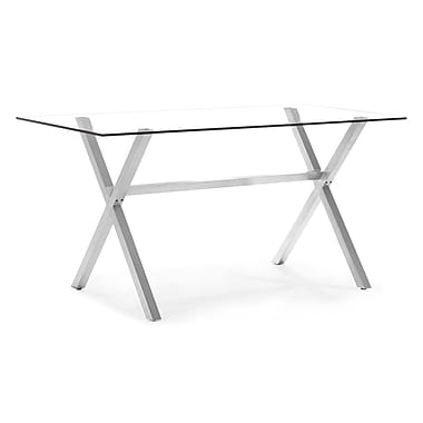 Zuo® Graphite 35 1/2in. x 71in. x 35 1/2in. Tempered Glass Counter Table, Clear