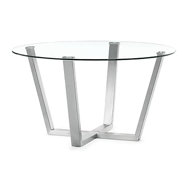Zuo® Brush 15in. Tempered Glass Dining Table, Clear
