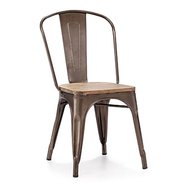 Zuo® Steel Elio Chairs, Rustic Wood