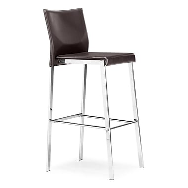 Zuo® Leather Boxter Bar Chair, Espresso