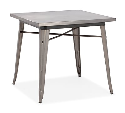 """""Zuo Olympia 31.4"""""""" x 31.4"""""""" Steel Dining Table, Gunmetal"""""" 223150"