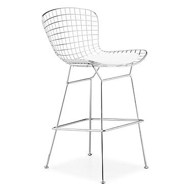 Zuo Leatherette Wire Bar Chairs, Chrome