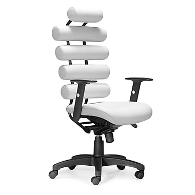 Zuo Unico High-Back Leatherette Manager's Chair, Adjustable Arms, White