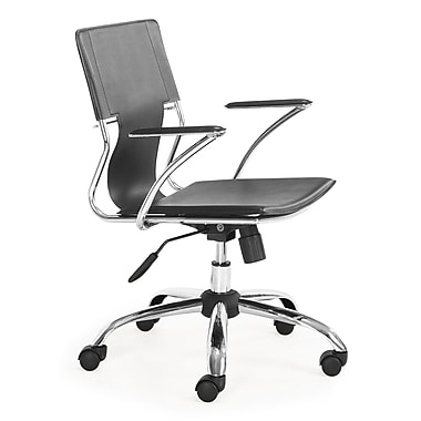 Zuo Trafico Leather Computer and Desk Office Chair, Fixed Arms, Black (205181ZUO)
