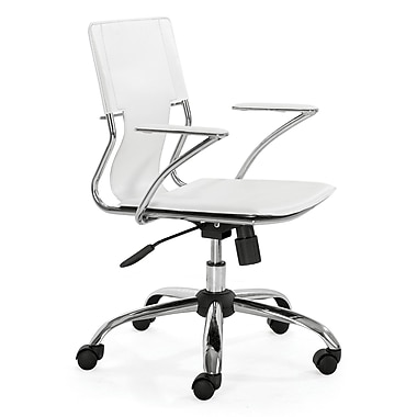 Zuo 205182 Trafico Leatherette Executive Chair with Fixed Arms, White
