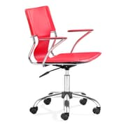 Zuo Trafico Leather Computer and Desk Office Chair, Fixed Arms, Red (205184ZUO)