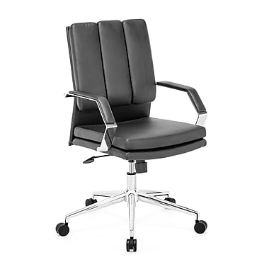 Zuo® Director Pro Leatherette Mid Back Office Chair, Black