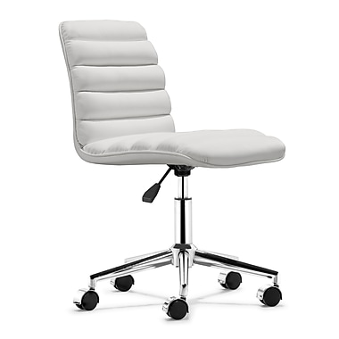 Zuo 205711 Admire Leatherette Armless Executive Chair, White