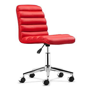 Zuo Admire Mid-Back Leatherette Executive Chair, Armless, Red