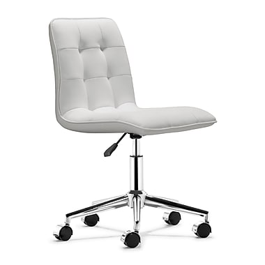 Zuo Faux Leather Office Chair, Armless, White