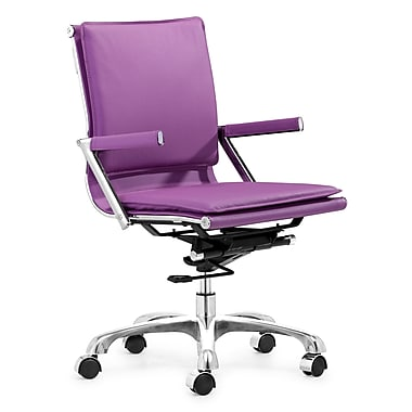 Zuo® Leatherette Lider Plus Office Chair, Purple
