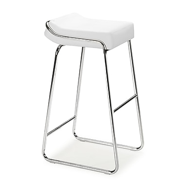 Zuo® Leatherette Wedge Bar Chairs, White, 2/Pack