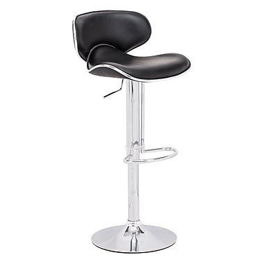 Zuo® Leatherette Fly Barstool, Black