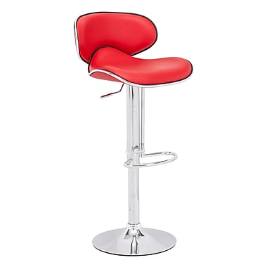 Zuo® Leatherette Fly Barstool, Red