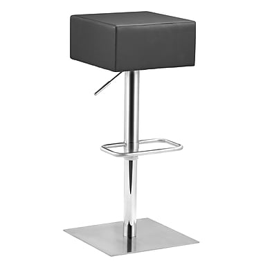 Zuo® Leatherette Butcher Barstool, Black