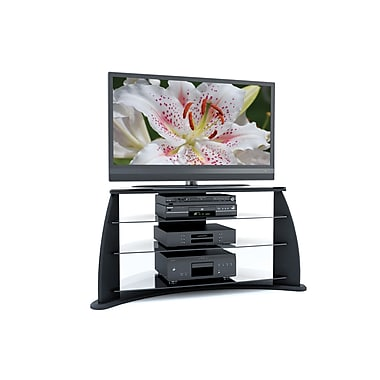 Sonax® Florence 51.5in. Wood/Veneer TV Stand with Glass Shelves, Midnight Black
