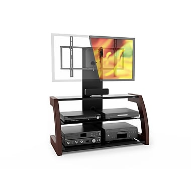 Sonax® Milan Hybrid 45in. Wood/Veneer TV Stand with Solid Wood Uprights, Piano Black