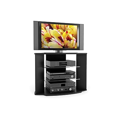 Sonax® Rio 35in. Wood/Veneer TV Stand with Two Glass Shelves, Midnight Black Lacquer