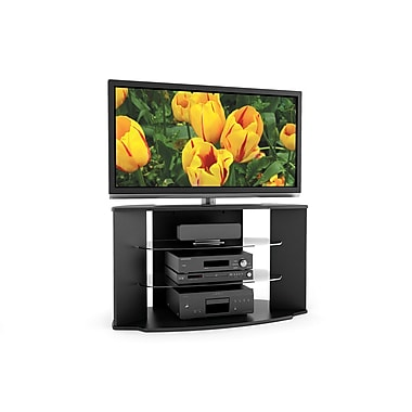 Sonax® Rio 45in. Wood/Veneer TV Stand with Two Glass Shelves, Midnight Black Lacquer