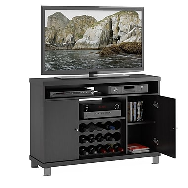 Sonax® Holland 47.25in. Wood/Veneer TV/Component Bench with Wine Storage, Ravenwood Black