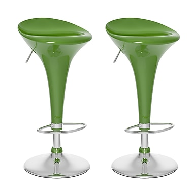 CorLiving™ ABS Form Fitted Adjustable Bar Stool, Green Gloss