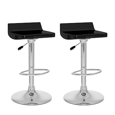 CorLiving™ Metal Low Back Adjustable Bar Stool, Black Gloss