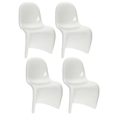 CorLiving™ 19.25in. W Metal Continuous Form Dining Chair, White Gloss