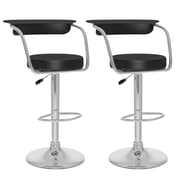 CorLiving™ Leatherette Open Back Adjustable Bar Stool, Black