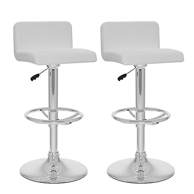CorLiving™ Leatherette Low Back Adjustable Bar Stool, White