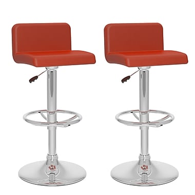 CorLiving™ Leatherette Low Back Adjustable Bar Stool, Red