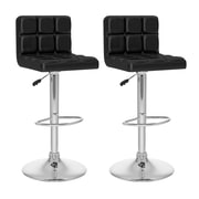 CorLiving™ Tufted Leatherette High Back Adjustable Bar Stool, Black