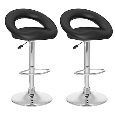 CorLiving™ Leatherette Round Open Back Adjustable Bar Stool, Black