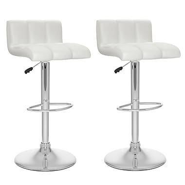 CorLiving™ Tufted Leatherette Low Back Adjustable Bar Stool, White