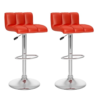 CorLiving™ Tufted Leatherette Low Back Adjustable Bar Stool, Red