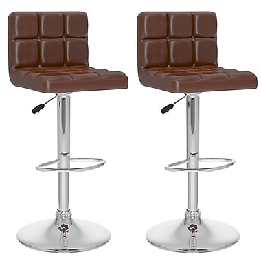 CorLiving™ Tufted Leatherette High Back Adjustable Bar Stool, Brown