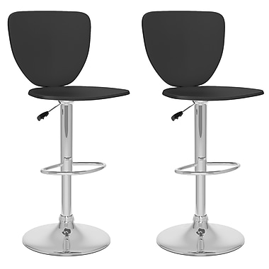 CorLiving™ Leatherette High Back Adjustable Bar Stool, Black