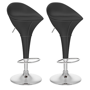 CorLiving™ Leatherette Round Adjustable Bar Stool, Black