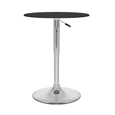 CorLiving™ 23.75in. Leatherette Sturdy Round Adjustable Bar Table, Black
